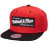 Mitchell and ness Box Logo 2 Tone Label röd svart logga