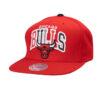 Bulls text röd snapback mitchell and ness NBA