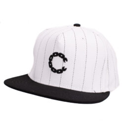 Crooks and Castle Pinstripe chain vit white snapback