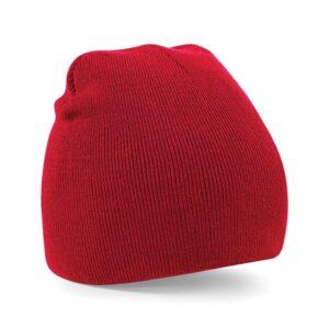 Beechfield - Beanie Knitted Hat Red - röd mössa