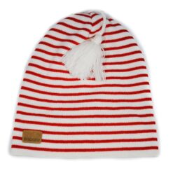 vit röd randig mössa med tofs