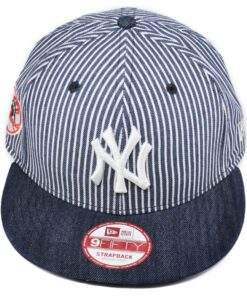 New Era Strapback vit/blå randig jeansfärg new york yankees